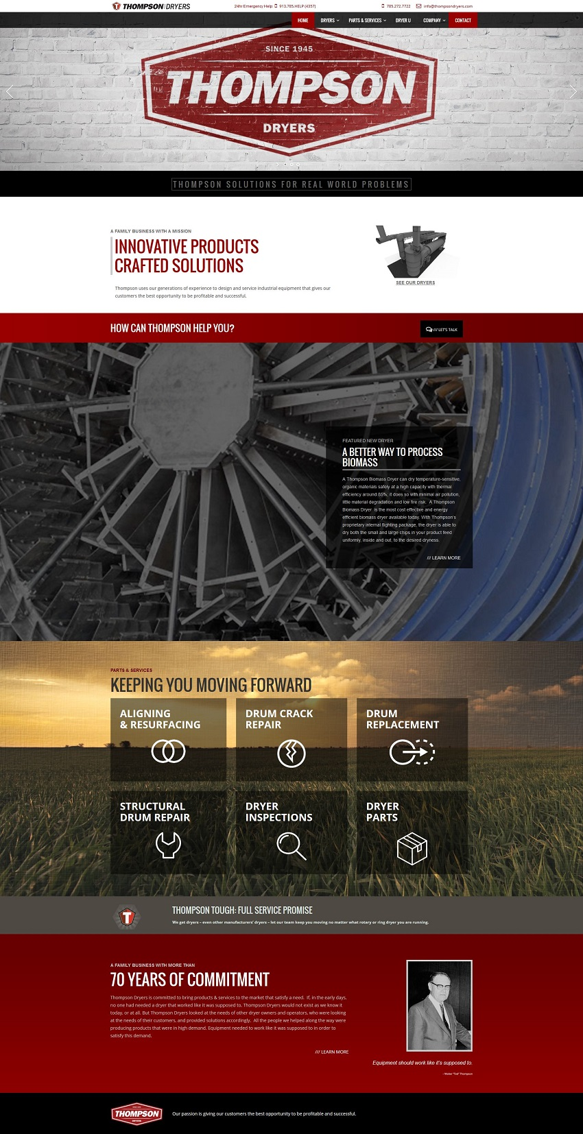 Industrial manufacturing website design thompson dryers for Industrial design sites