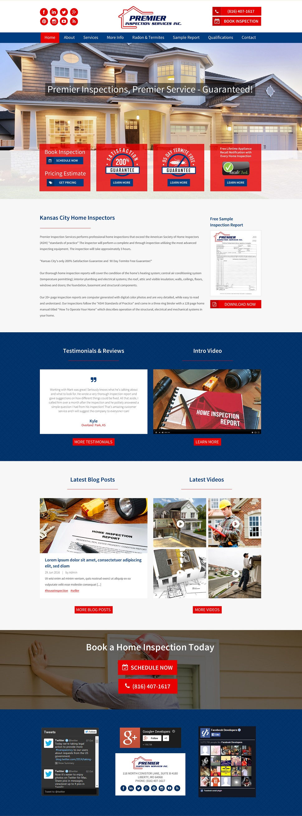 home inspector website design
