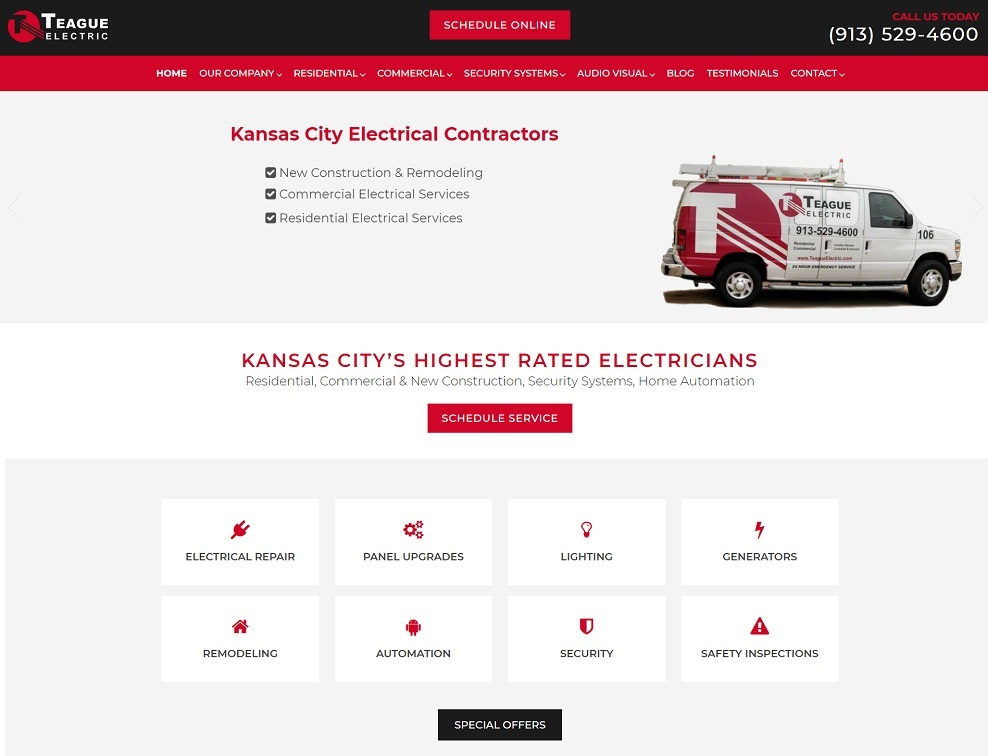 electricians web design